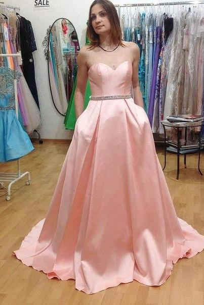 Sweetheart Neck Long Satin Prom Dresses Floor Length Party Dresses Custom Made Women Dresses