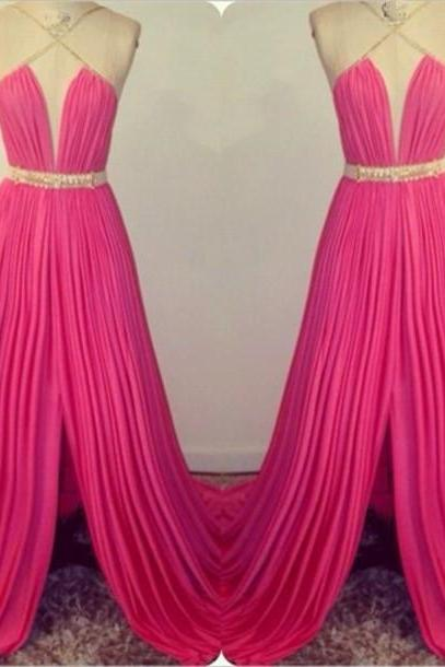 Halter Neck Long Chiffon Prom Dresses Pleat Floor Length Custom Made Party Dresses 2016