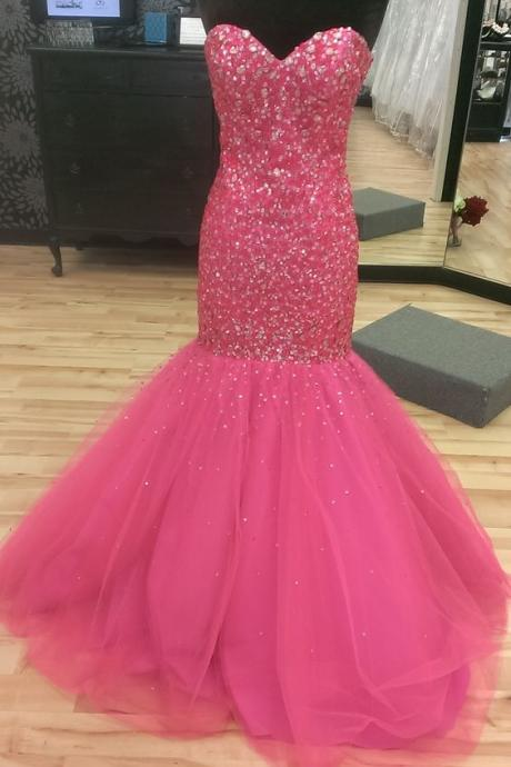 Sweetheart neck Mermaid Tulle Prom Dresses Crystal Beaded Party Dresses custom Made Women Dresses