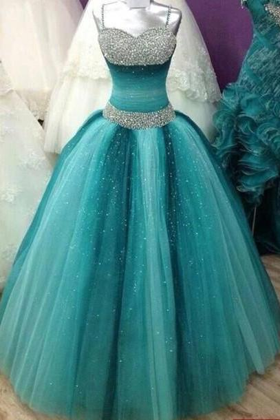 Spaghetti Straps Ball Gown Tulle Prom Dresses with Crystals
