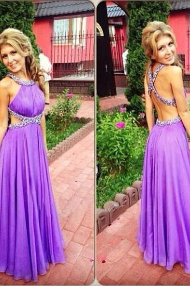 Purple Chiffon Prom Dresses Open Back Crystals Women party Dresses