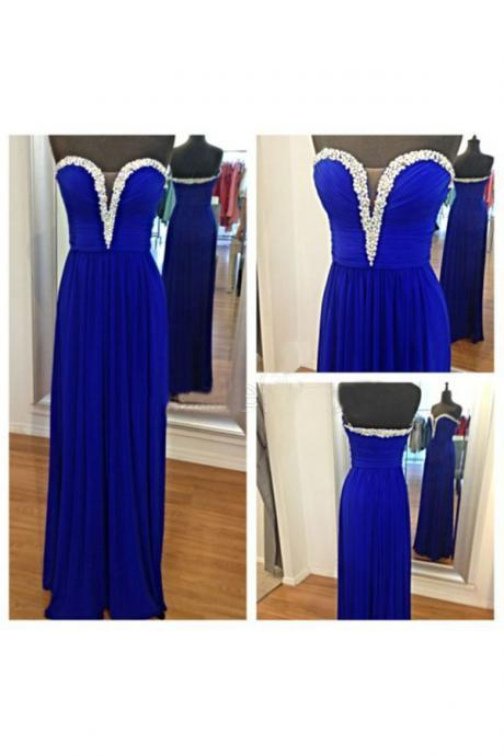 Sweetheart Neck Royal Blue Chiffon Prom Dresses Crystals Women Party Dresses