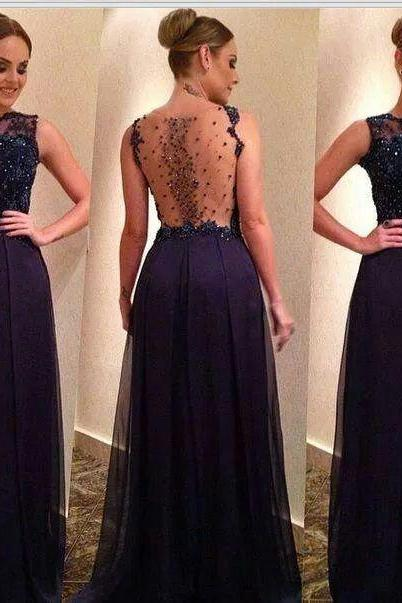 O-neck Black Chiffon Prom Dresses with Crystals Women Party Dresses