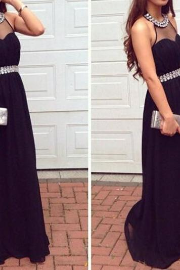 O-neck Long Black Chiffon Women Evening Gowns with Crystals belt