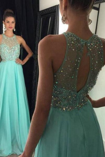Halter Neck Crystals Women Prom Dresses Long Chiffon Women Party Dresses