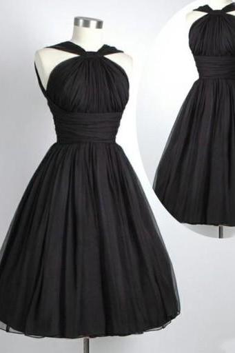 Black Tulle Homecoming Dresses Pleat Women Party Dresses
