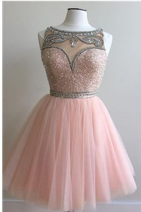 Short Pink Tulle Homecoming Dresses with crystals