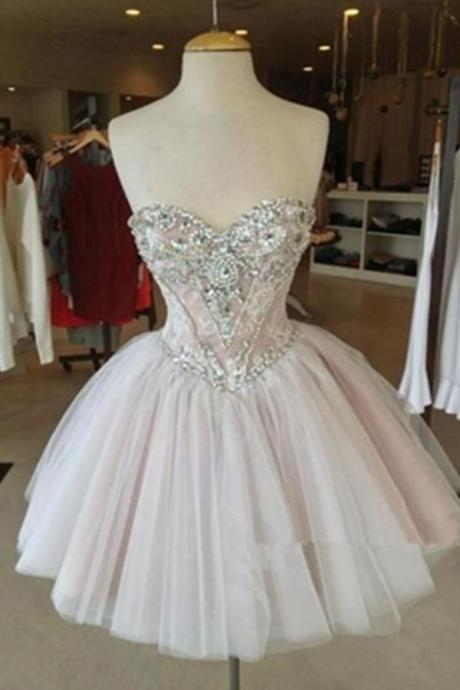 Light Pink Short Tulle Homecoming Dresses Crystals Beaded Mimi Party Dresses