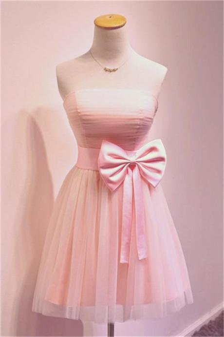 Short Satin Homecoming Dresses Bow Tie Women Party Dresses