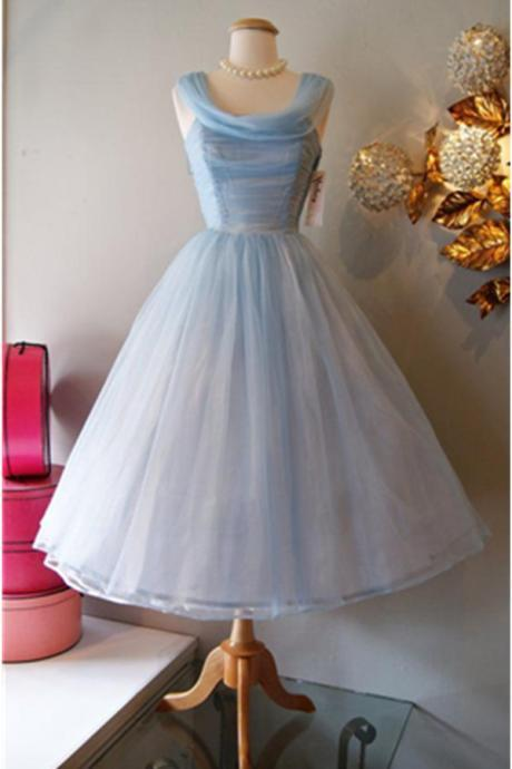 Mid-calf Tulle Homecoming Dresses Scoop neck Women Dresses