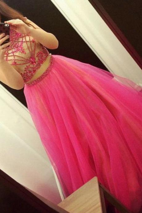Two Parts Tulle Prom Dresses Cap Sleeves Beaded Women Party Dresses
