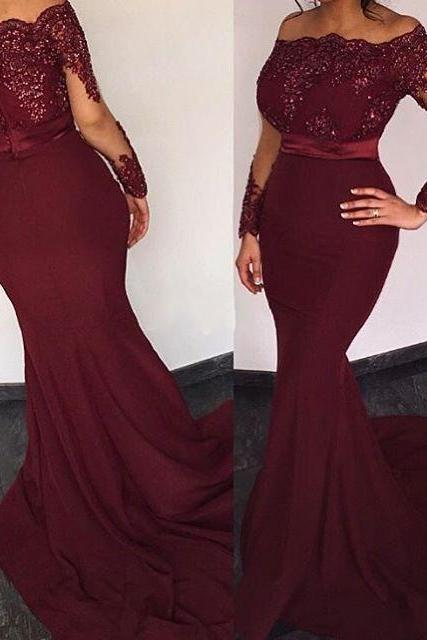 Mermaid Chiffon Evening Dresses Lace Appliques Full Sleeve Women Party Dresses