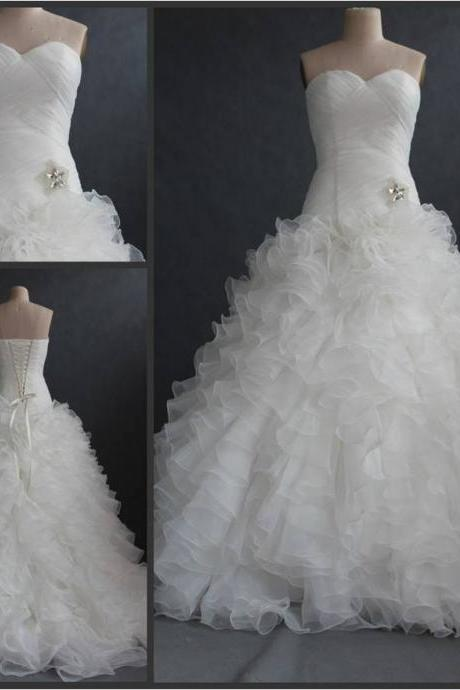 Mermaid Organza White Wedding Dresses Sweetheart Neck Women Bridal Gowns