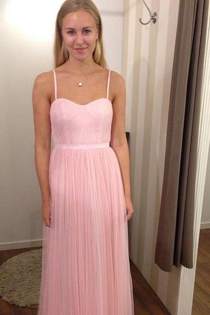 Pink Long tulle Prom Dresses Spaghetti Straps Women Party Dresses