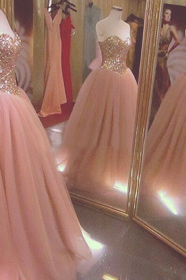 Sweetheart Ball Gown Tulle Prom Dresses Custom Made Women Party Dresses
