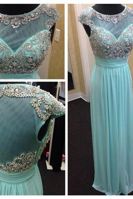 Scoop neck Long Chiffon Prom Dresses Crystals beaded Women party Dresses