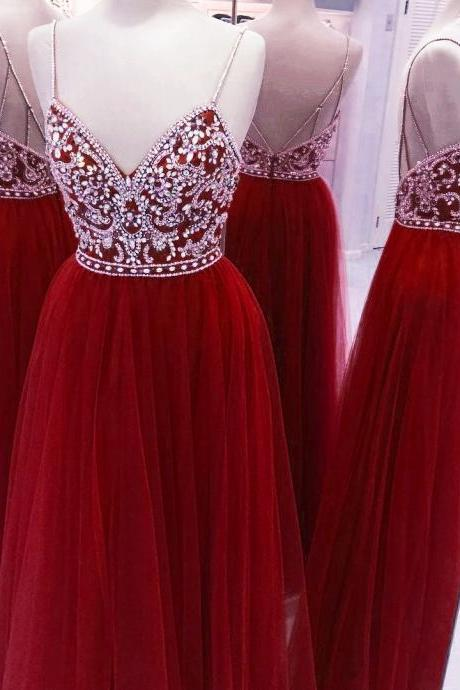 Long red Tulle Prom Dresses Crystals Women Party Dresses