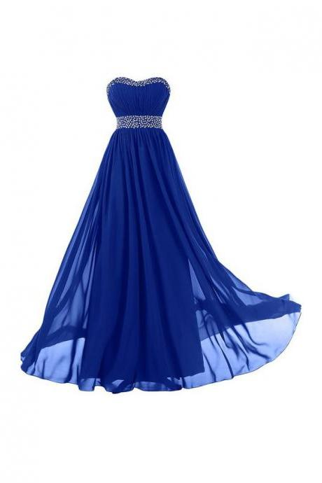 Sweetheart Long Chiffon Prom Dresses Royal blue Crystals Women Party Dresses