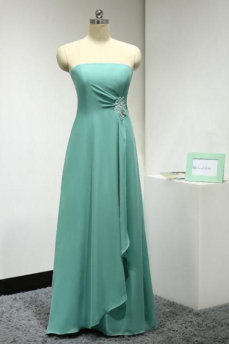 Custom Made Green Strapless Bandeau Neckline Chiffon Floor Length A-Line Bridesmaid Dress with Crystal Embellishment