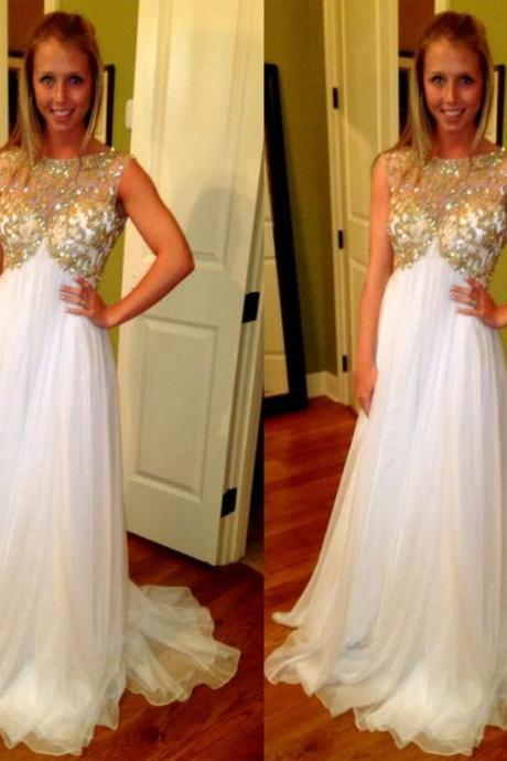Scoop neck White Chiffon Prom Dresses Crystals Women Party Dresses