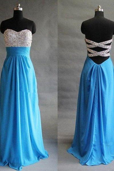 Open Back Long Chiffon Prom Dresses Crystals women Dresses