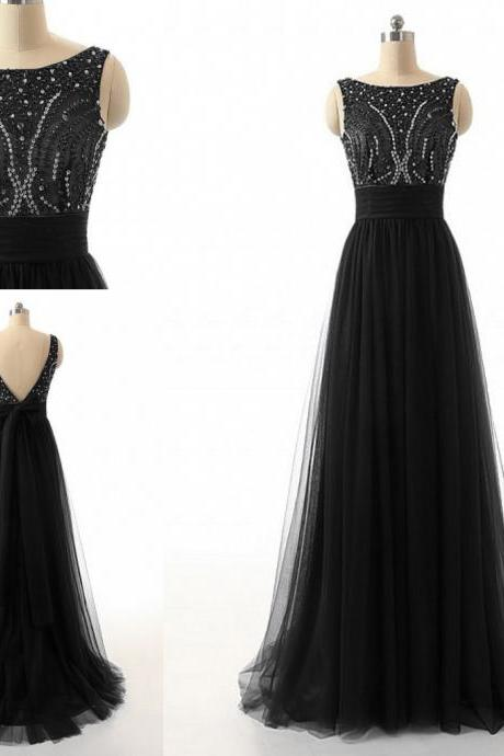 Black Tulle Prom Dresses, Scoop Neck Crystals prom dresses, Long black women dresses, long tulle dresses