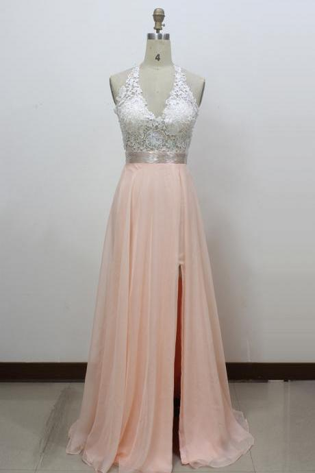 Pink Chiffon Prom Dresses, Lace Prom Dresses, Halter Neck Women Party Dresses 2017