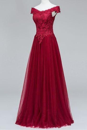 Dark Red Tulle Prom Dresses, Lace Prom Dresses, Off Shoulder Women Party Dresses 2017