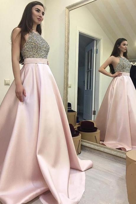 Pink Satin Prom Dresses Halter Neck Crystals Women Party Dresses