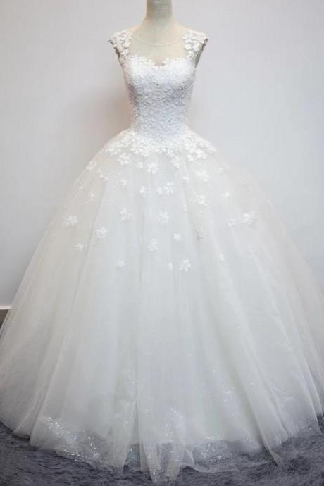 Ball Gown Tulle Prom Dresses White Lace Women Bridal Gowns