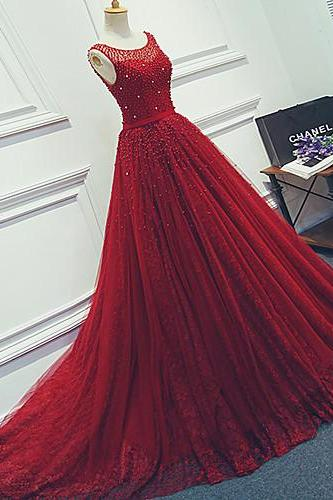 Dard Red Lace Prom Dresses Scoop neck Crystal Women Party Dresses