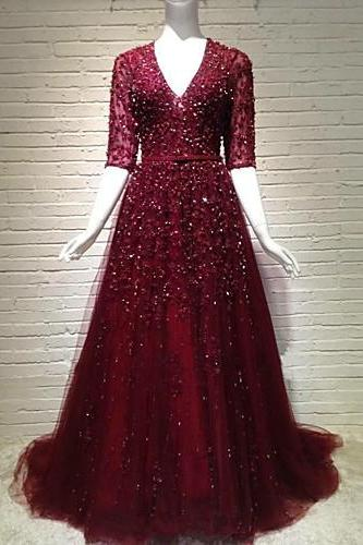 Burgundy Tulle Prom Dresses Half Sleeves Women Party Dresses V-neck Evening Gowns