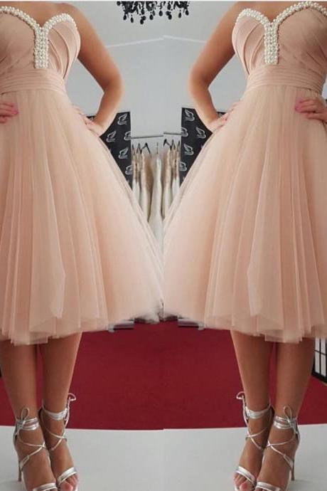 Knee Length Tulle Homecoming Dresses Sweetheart Neck Beaded Women Party Dresses
