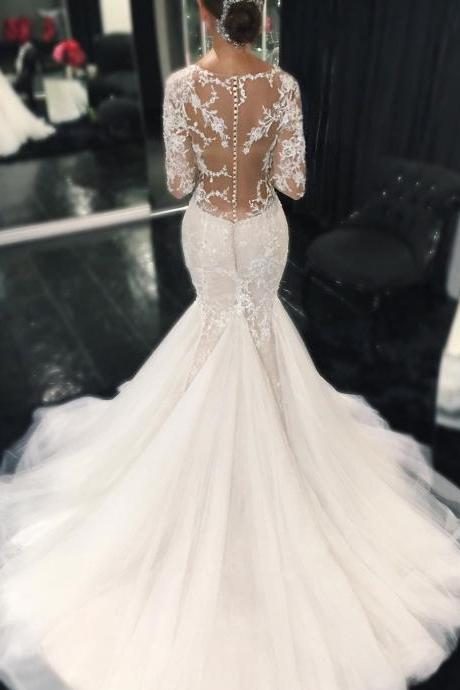 Mermaid Tulle Bridal Gowns, Full Sleeves White Lace Wedding Dresses