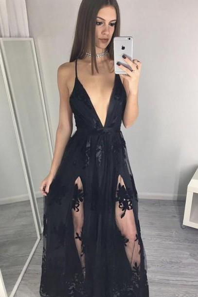 Deep V-neck Tulle Prom Dresses, Black Lace Women Party Dresses, Charming Evening Gown 2017