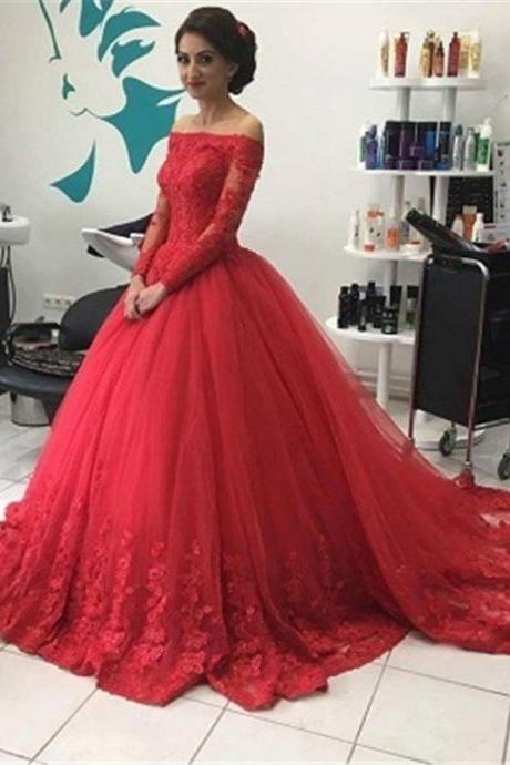 Full Sleeves Red Tulle Wedding Dresses Off Shoulder Lace Women Bridal Gowns
