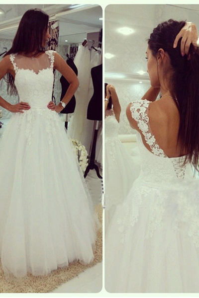 White Tulle Bridal Gowns Open Back Lace Women Wedding Dresses
