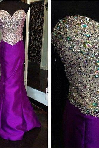 Purple Sheath Satin Prom Dresses, Sweetheart Crystals Women Party Dresses