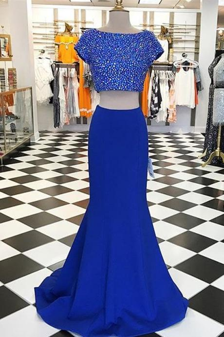 2 Pieces Navy Blue Chiffon Prom Dresses Scoop neck Crystal Women Party Dresses