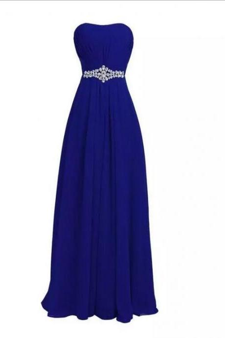 Navy Blue Chiffon Sweetheart Floor Length A-Line Formal Dress Featuring Beaded Embellished Belt, Prom Dress, Bridesmaid Dress