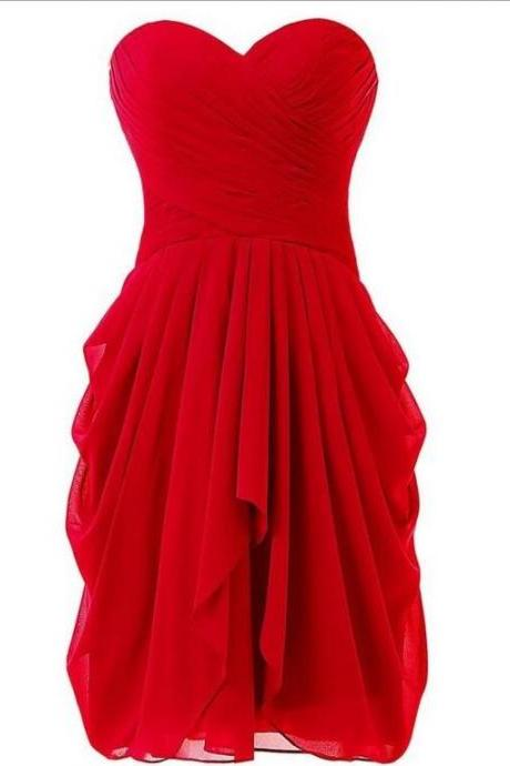 Short Red Chiffon Homecoming Dresses Sweetheart Women Dresses