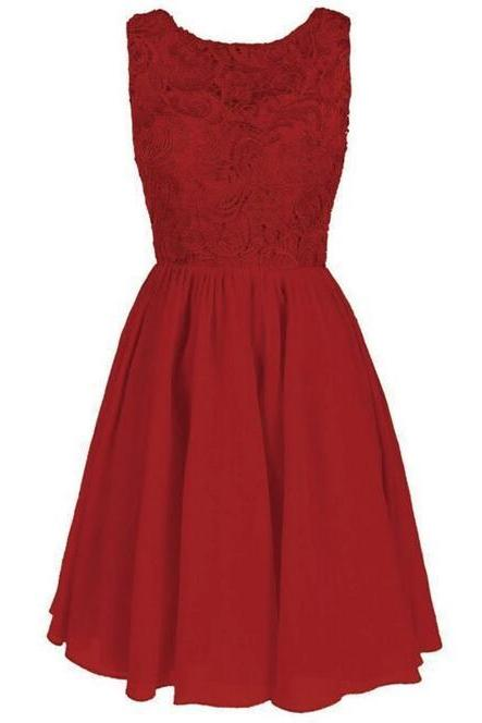 Mini Red Chiffon Homecoming Dresses Scoop neck Lace Dresses