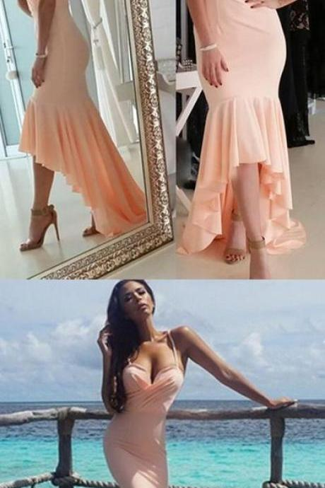 Elegant Mermaid Chiffon Prom Dresses Spaghetti Straps Pleats Women Dresses