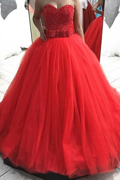 Ball Gown Red Tulle Prom Dresses Sweetheart Neck Beaded Women Party Dresses