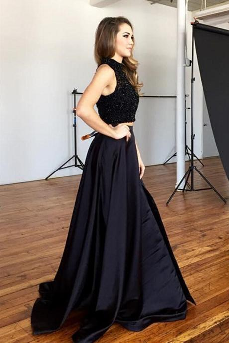 Black Satin Prom Dresses Floor Length Beaded Women Party Dresses