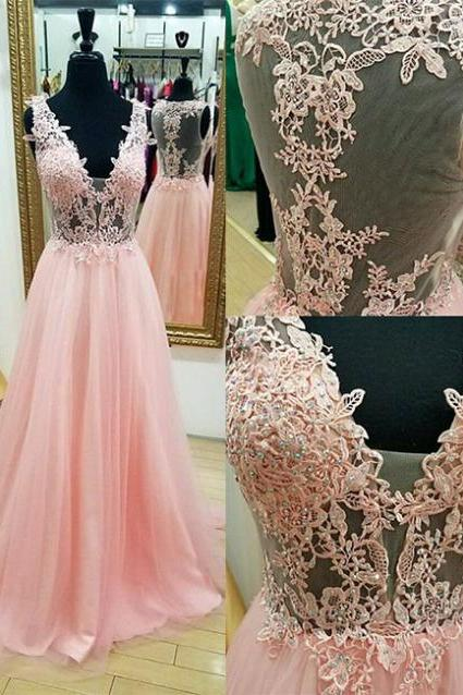 V-neck Long Pink Tulle Prom Dresses Lace Appliques Floor Length Women Dresses