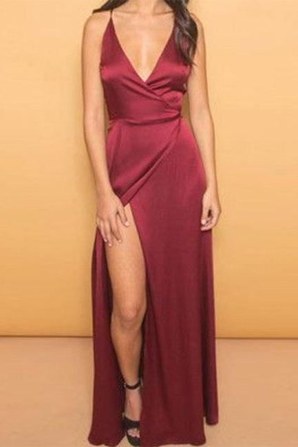 V-neck Split Satin Prom Dresses Floor Length Women Dresses