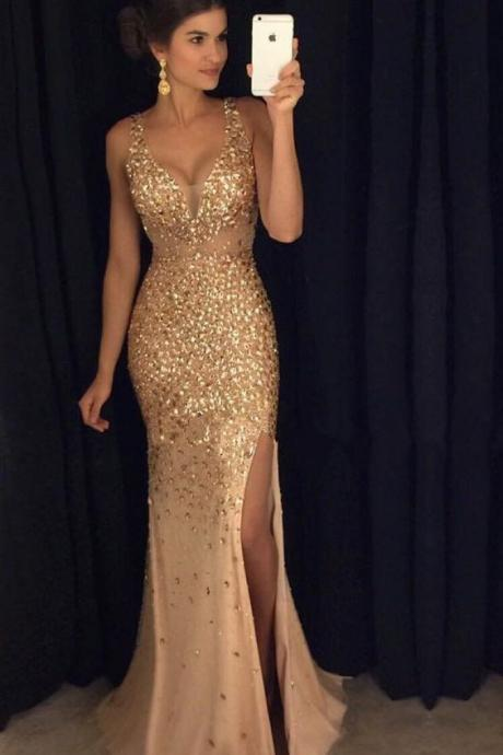 V-neck Mermaid Chiffon Prom Dresses with Golden Crystals
