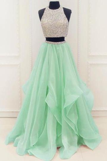 Two Pieces Tulle Prom Dresses Crystals Floor Length Women Party Dresses