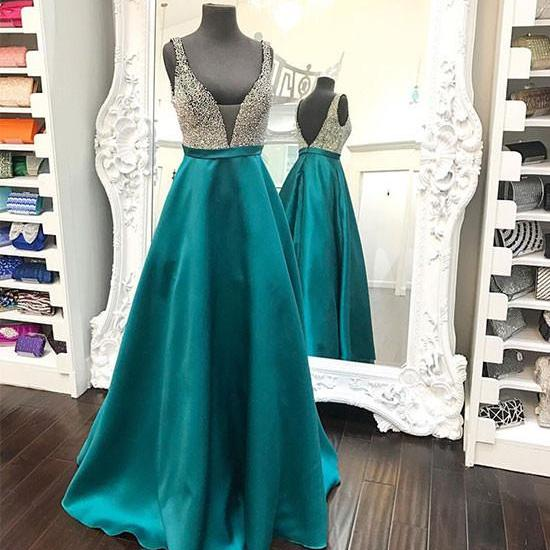 Sleeveless Plunge-V Satin A-line Prom Dress, Evening Dress Featuring Beaded Bodice